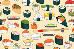 Sushi Seamless Background stock illustration