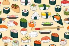 Sushi Seamless Background Stock Image