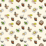 Sushi seamless pattern. Vector illustration royalty free illustration