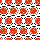 Sushi seamless pattern, hand drawn.. Emblem of japanese food, fish snack, susi, exotic restaurant, sea products delivery Royalty Free Stock Photos
