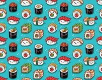 Seamless pattern of japanese sea food in kawaii style. Vector illustration. Sushi seamless pattern in kawaii style. Vector cartoon characters background vector illustration
