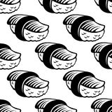 Sushi seamless pattern in sketch style Royalty Free Stock Photos