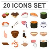 Sushi and seasoning cartoon icons in set collection for design. Seafood food, accessory vector symbol stock web stock illustration