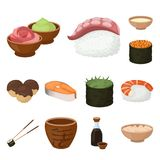 Sushi and seasoning cartoon icons in set collection for design. Seafood food, accessory vector symbol stock web. Sushi and seasoning cartoon icons in set vector illustration