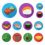 Sushi and seasoning flat icons in set collection for design. Seafood food, accessory vector symbol stock web. Sushi and seasoning flat icons in set collection Stock Photography