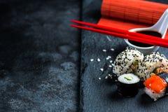 Sushi selection on black slate Stock Image