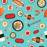 Sushi sem emenda do teste padrão do alimento japonês ilustração royalty free