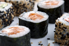 Sushi served on plate Stock Image