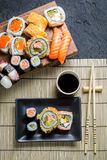 Sushi served with soy sauce Royalty Free Stock Image