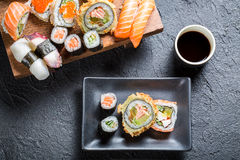 Sushi served with soy sauce Royalty Free Stock Photography