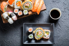 Sushi served with soy sauce Stock Photography