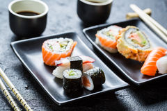 Sushi served with soy sauce for two Stock Image