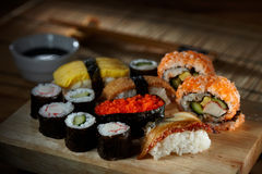 Sushi Set. A set of delicious sushi waiting to be consumed stock photo