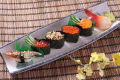 Sushi set. Oyster Seafood Prepared Oysters Freshness rice heart salmon stock image