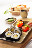 Sushi set. Display of two sushi set in oriental style royalty free stock images