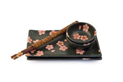 Sushi Set. Cherry blossoms sushi set with Japanese chopsticksrn Stock Photo