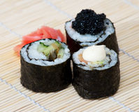 Sushi set. On a wooden stand Stock Photo