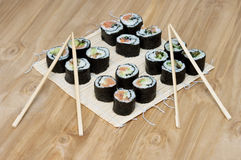 Sushi set. The last stage of cooking Royalty Free Stock Images
