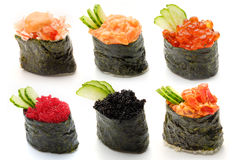 Sushi set. Set for creation of the menu for restaurant or a sushi bar. It is used for Web design Stock Images