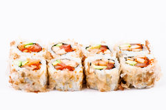 Sushi set with avocado, fish and red caviar Royalty Free Stock Images