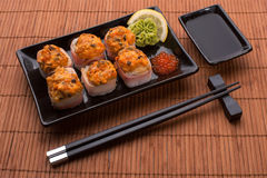Sushi set with bacon and caviar Stock Photo