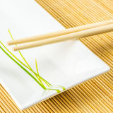 Sushi set on a bamboo placemat Royalty Free Stock Image