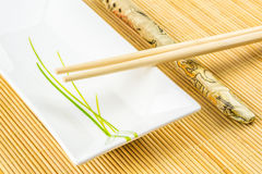 Sushi set on a bamboo placemat Royalty Free Stock Photos