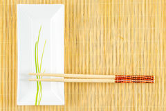 Sushi set on a bamboo placemat Royalty Free Stock Photography