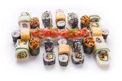 Sushi set for big party. Japanese food on white background Royalty Free Stock Photography