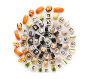 Sushi set for big party. Japanese food on white background Royalty Free Stock Image