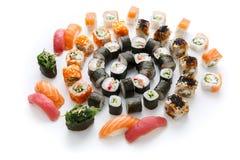 Sushi set for big party. Japanese food on white background Stock Photo