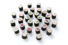 Sushi set for big party. Japanese food on white background Royalty Free Stock Images