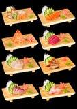 Sushi set black 2. Sushi set. Isolated photography on black background Royalty Free Stock Images
