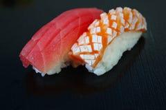 Sushi set  on black background Stock Photography