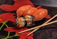 Sushi set on black background Stock Photos