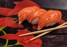 Sushi set on black background Royalty Free Stock Photos