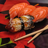 Sushi set on black background Royalty Free Stock Photo