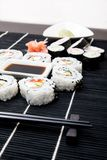 Sushi set on black bamboo mat Stock Image