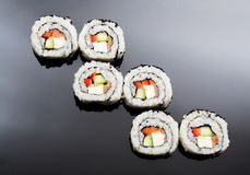 Sushi set on black reflection background Royalty Free Stock Images