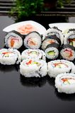 Sushi set on black reflection background Royalty Free Stock Photography