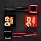 Sushi set on black stone table Stock Image