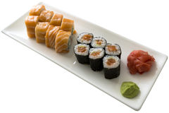 Sushi set California with wasabi on white plate isolated Royalty Free Stock Images