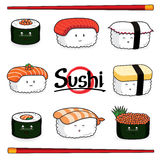 Sushi Set cartoon character Stock Photo