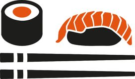Sushi set with chopstick maki roll and nigri. Vector Stock Photos