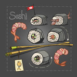 Sushi set with chopsticks on grey graphite background. Royalty Free Stock Photography