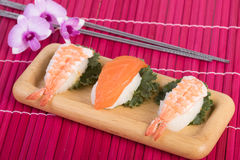 Sushi set with chopsticks Royalty Free Stock Photos