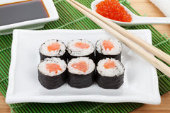 Sushi set, chopsticks, red caviar and soy sauce Royalty Free Stock Photo