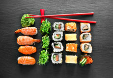 Sushi set and chopsticks Stock Image