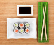 Sushi set, chopsticks and soy sauce Stock Image