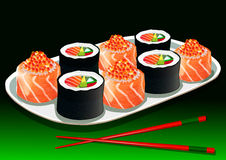 Sushi set, with chopsticks, vector illustration Stock Images